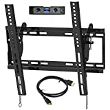 Everstone Universal Tilting TV Wall Mount for 23-55' Flat Screen TVs,Curved TVs up to VESA 400x400mm &125 LBS,Low Profile Tilt tv Bracket fits Single&16' Wall Studs,with HDMI Cable & Bubble Level
