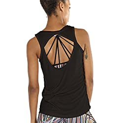 icyZone Yoga Tops Activewear Workout Clothes Open Back Fitness Racerback Tank Tops for Women (L, Black)