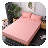 3 pcs/Set 100% Cotton Solid Colour Fitted Sheet Mattress Cover +2 Pillowcase Four Corners with Elastic Band Bed Sheet High 25cm,N5,2 Pillowcase