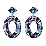 Gleamfut Ladies Personality Classics Oval Acetate Plate Earrings Creative Stud Earring Jewelry