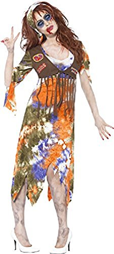 Smiffy's Women's Zombie 60's Hippie Lady Costume, Dress with Attached Waistcoat and Headscarf, Zombie Alley, Halloween, Size 14-16, 61105