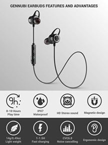Gennubi-Bluetooth-Earbuds-Wireless-Magnetic-Headset-Sport-Earphones-for-Running-IPX7-Waterproof-Headphones-10-Hours-Playtime-High-Fidelity-Stereo-Sound-and-Noise-Cancelling-Mic-1-Hour-Recharge-Black