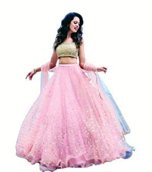 Drashti Villa Women's Net & Silk Semi-Stitched Lehenga Choli (Pooja Pink_Pink_Free Size)