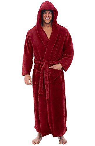 Alexander Del Rossa Men's Robe with Hood - Premium Fleece Bathrobe, Big and Tall, 1XL 2XL Burgundy (A0125BRG2X)
