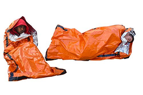 SE EB122OR-2 Survivor Series Orange Emergency Sleeping Bag with Drawstring Carrying Bag (2-Pack)
