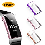 NANW Screen Protector Compatible with Fitbit Charge 3, [3 Pack] Soft Slim Full-Around Protective Charge 3 Case Cover Bumper Compatible with Fitbit Charge 3 & Charge 3 SE Smartwatch
