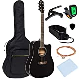 Best Choice Products 41in Full Size Beginner Acoustic Cutaway Guitar Kit with Padded Case, Strap, Capo, Extra Strings, Digital Tuner, Picks (Black)