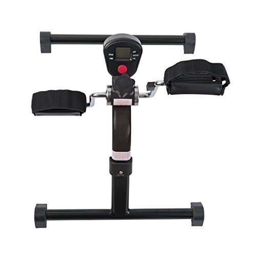 HealthSmart Lightweight Pedal Exerciser with Folding Legs and Digital Monitor Display for Exercising Arms and Legs, Black
