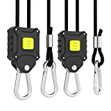 VIVOSUN 1-Pair 1/8 inch Rope Hanger Improved Design, More Convenience - Press Button Easy Adjust, Reinforced Metal Internal Gears, 8-ft Long & 150lbs Weight Capacity