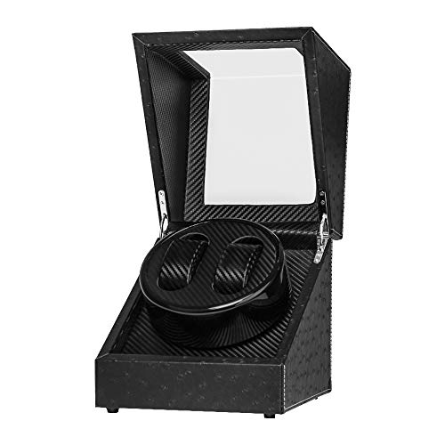 Baskiss Double Watch Winder, Display Case for 2 Watches, Quiet Japanese Mabuchi Motor, Battery Powered or AC Adapter