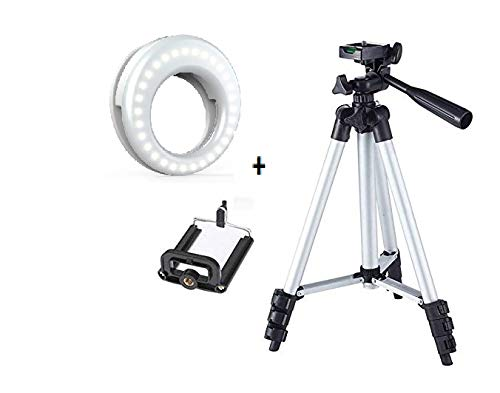 BID Tirpod-3110 Portable Adjustab Lightweight Camera Stand with Three-Dimensional Head Plate and Mobile Phones Tripod+ Portable Selfie Beauty LED Ring Light for Smartphones Tablets tiktok 195