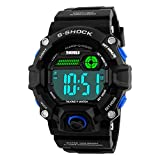 Men Outdoor English Talking Watch LED Digital Military Wristwatch with Silicone Band Voice Broadcast Time Watches-Blue