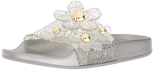 Marc Jacobs Women's Daisy Aqua Slide Sandal, Silver, 36 M EU (6 US)