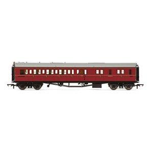 Hornby R4764 BR Collett Coach Corridor Brake Third Class RH W4935W Train Model Set, Maroon 41vEM6Hy8IL