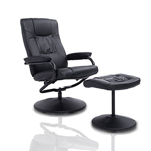 HOMCOM PVC Leather Recliner and Ottoman Set - Black