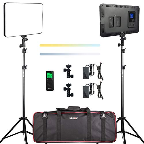 40W-Bi-Color-LED-Video-Light-Lighting-Kit-with-StandRemote-Controller-Lamp-Bracket-3300-5600K-20-100-CRI-95-and-Adjustable-Light-Stand-for-Studio-YouTube-Shooting-Photography2-Pack