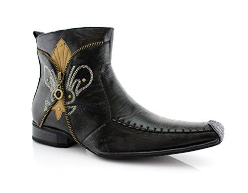 Delli Aldo Men's 668 Square Toe Fleur De Lis Design Zipped Ankle Dress Boots, Black, 9
