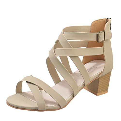 Sunhusing Women's Cross Belt Buckle Euro-American Solid Color Square Heel Back Zipper Roman Sandals Beige