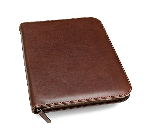 Maruse Leather Padfolio Executive Leather Writing Portfolio, Document Holder, Business Case - Made in Italy (Brown)