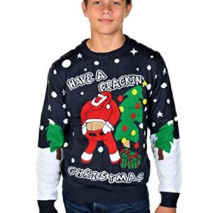 KESIS Have A Crackin Ugly Christmas Pullover Sweater SM Navy Blue
