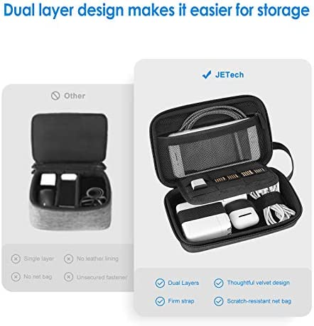 JETech External Hard Drive Portable Carrying Case, Travel Case Gadget Bag Small, Travel Small Item Carry Bag, Double Zipper, Carrying Strap, Grey