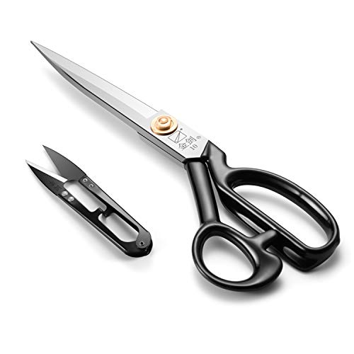 Sewing Scissors 10 Inch, Fabric Dressmaker Scissors Heavy Duty Shears for Tailors Dressmaking, Professional for Upholstery Office Crafting-Cutting Fabric Leather Paper(Stainless Steel, Right-Handed)