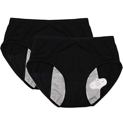 Menstrual Period Leak Proof Underwear Panties for Teens Heavy Flow,Women Postpartum Bleeding After Birth (Black, L)