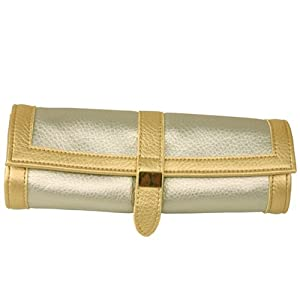 Travel Jewelry Roll Leather Compact Metallic Gold Silver