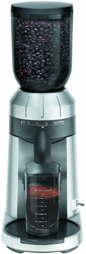 KRUPS GX610050 Professional Die Cast Conical Burr Stainless Steel Coffee Grinder with Grind Size Selector, Silver