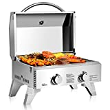 "Giantex Propane Tabletop Gas Grill Stainless Steel Two-Burner BBQ, with Foldable Leg, 20000 BTU, Perfect for Camping, Picnics or Any Outdoor Use, 22"" x 18"" x 15"", Silver"