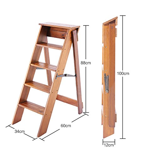 Step Stool Home Solid Wood Folding Ladder - Solid Wood Folding Ladder Indoor Thicken Non-Slip Ladders Five Steps Decoration Multifunction Small Staircase, 3 Colors (Color : Brown)