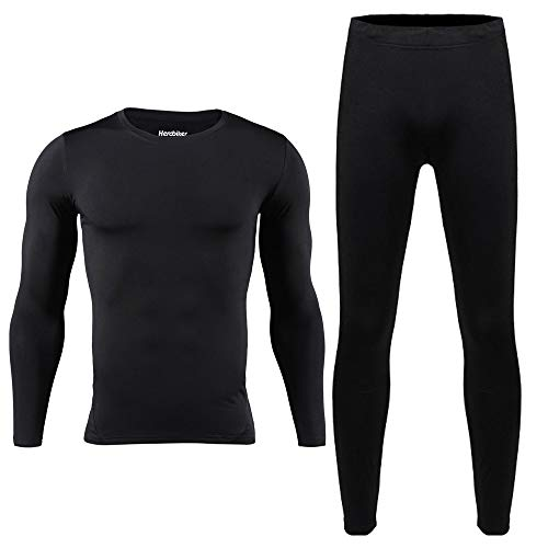 HEROBIKER Men Cotton Thermal Underwear Set Motorcycle Skiing Winter Warm Base Layers Tight Long Johns Tops & Pants Set Black, Large
