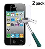 TANTEK Tempered Glass Screen Protector for Apple iPhone 4/4S, Clear, 2 Pack