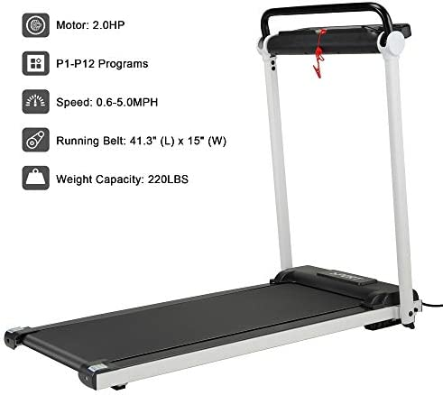 JAXPETY Electric Folding Treadmill 2.0HP Fitness Motorized Running Jogging Machine Perfect for Home/Office Gym with Large LED Display, 12 Preset Programs, Black 6
