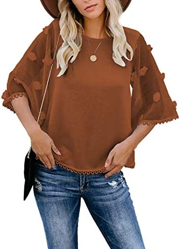 FARYSAYS Women's Summer Sheer 3/4 Bell Sleeve Crewneck T Shirts Casual Loose Blouse Tops