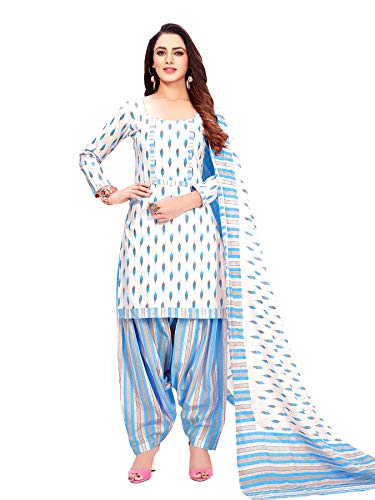 Rajnandini Women's White Pure Cotton Printed Unstitched Salwar Suit Material (Free Size)