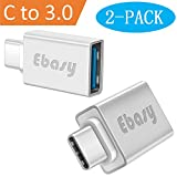 USB Type C Adapter, Ebasy USB C to USB A 3.0 OTG Adapter / C Type USB Converter for Macbook Pro, Galaxy S8 S8+, Google Pixel, Nexus 6P 5X, LG G5 G6, HTC 10, HUAWEI P9 and More(2-Pack, Silver)