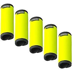 Hibate Comfort Neoprene Luggage Handle Wrap Grip - Fluorescent Yellow, Pack of 5