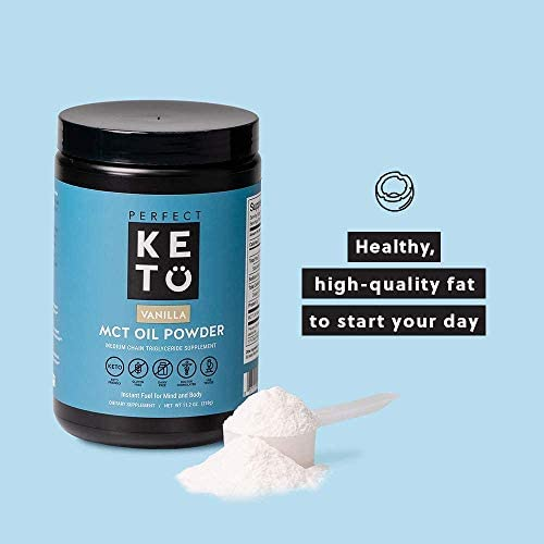 Perfect Keto MCT Oil C8 Powder, Coconut Medium Chain Triglycerides for Pure Clean Energy, Ketogenic Non Dairy Coffee Creamer, Bulk Supplement, Helps Boost Ketones, Chocolate 7