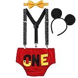 IBTOM CASTLE Baby Boys 1st Birthday Outfit Cartoon Bodysuit One Piece Gentleman Bottoms Suspender Straps with Bow-tie #22 Red One 12-18 Months