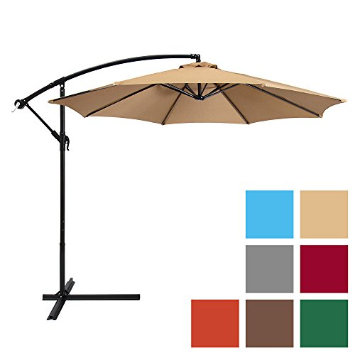 Best Choice Products 10ft Offset Hanging Market Patio Umbrella w/ Easy Tilt Adjustment, Polyester Shade, 8 Ribs for Backyard, Poolside, Lawn and Garden - Beige