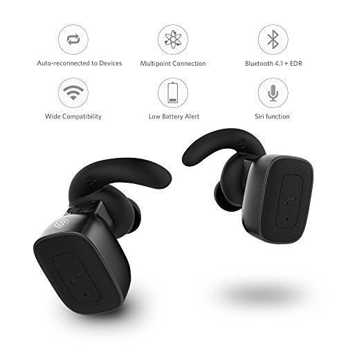 Completely Wireless Earbuds, SmartOmi True Wireless Bluetooth Headphones Stereo Noise Cancelling Earpieces with Mic Hands-free calls for Smartphones iPhone, Android on Driving or Sports(Black)