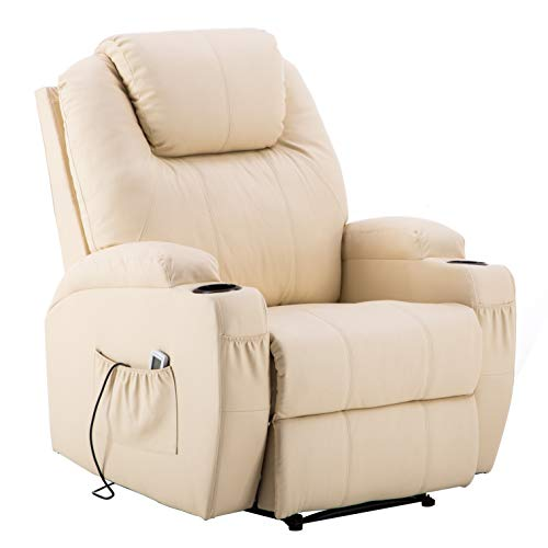 Electric Power Recliner Massage Ergonomic Chair Vibrating Heated Remote PU Leather 7050 (Creme White)
