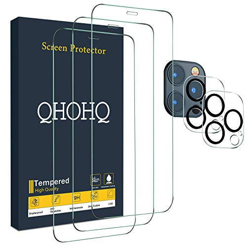 """QHOHQ 3 Pack Screen Protector for iPhone 12 Pro Max [6.7""""] with 2 Packs Tempered Glass Camera Lens Protector, Tempered…"""