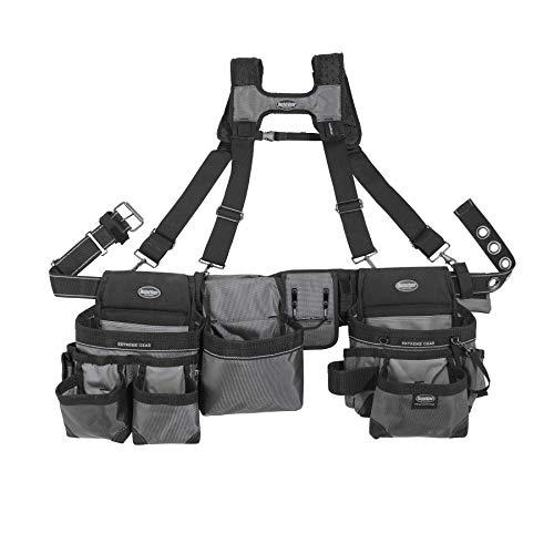 Bucket Boss Mullet Buster 3 Bag Tool Bag Set with Suspenders in Grey, 55135