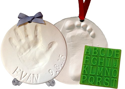Baby Handprint Keepsake Ornament Kit (Makes 2) - Bonus Customization Tool for Personalized Gifts
