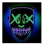 Double Color Led - Halloween Led Mask - Led Face Mask - Led Purge Mask - 10 Option (Purple -Green)