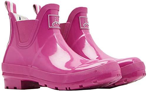 Joules Womens Wellibob Gloss Short Height Rain Boots, Pink Size 5