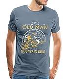 Spreadshirt Never Underestimate an Old Man Mountain Bike Men's Premium T-Shirt, L, Steel Blue