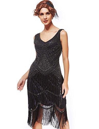 Women's Roaring 20s V-Neck Gatsby Dresses- Vintage Inpired ...